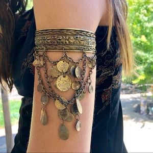 Free People upper arm band cuff gold coins